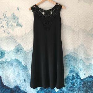 BARBARA LESSER  M  Black Embroidered Floral Dress